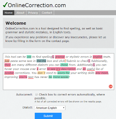 Online Correction improve english writing skills