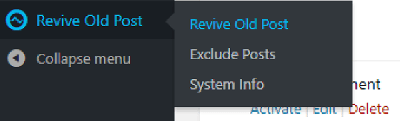open the revive old posts menu image