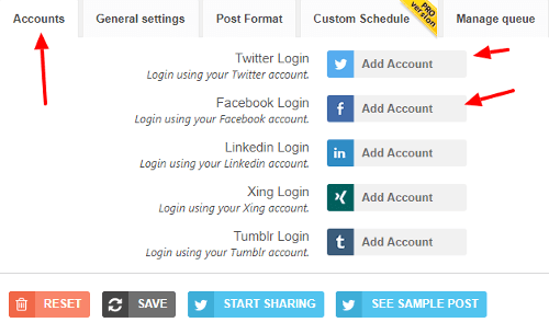 open the revive old posts account settings page image