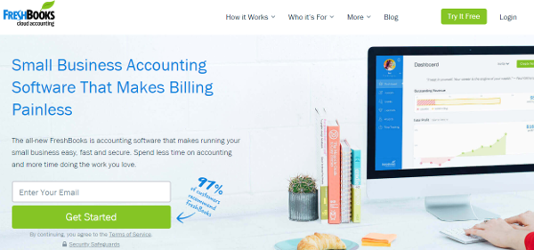 Freshbook best accounting software homepage image