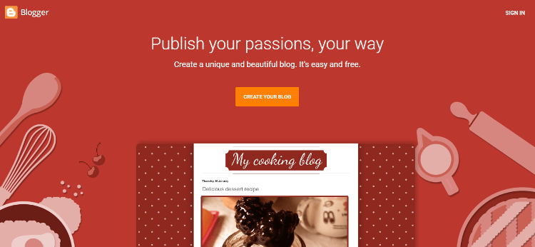 create a free blog on blogger blospot homepage
