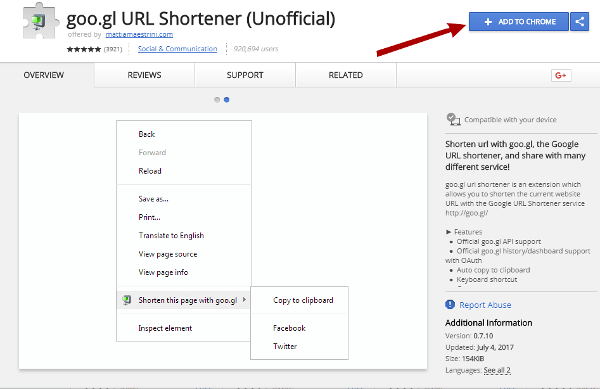 google url shortener chrome extension page