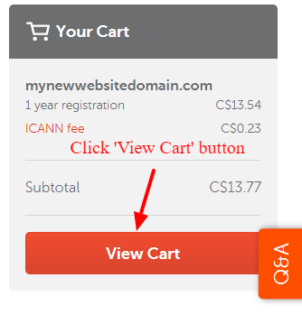 Go to Namecheap My Cart page