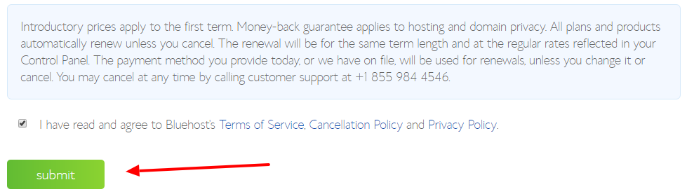 accept bluehost terms and conditions