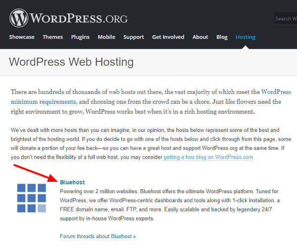 Wordpress recommendation of Bluehost hosting showing here at Bluehost discount coupon