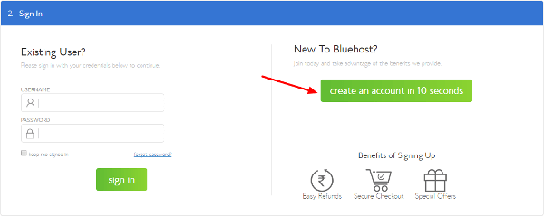 Bluehost India Coupon create account