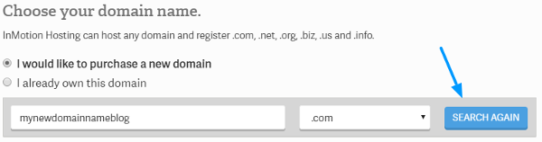 inmotion hosting coupon choose domain name image
