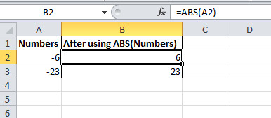 image to Find the Absolute Value of Negative Number using Excel ABS function