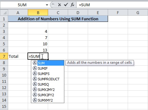 Use =SUM Where You Want to Find Total