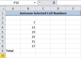 Enter Numbers in Cells To Calculate Total
