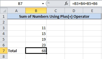 Add Numbers in Excel Press Enter to Get Final Total of Numbers
