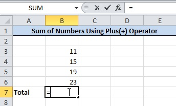 Add Numbers in Excel Use Equals to(=) operator to Calculate Total