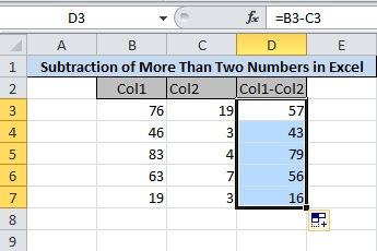 Final Result of Two Column Subtraction