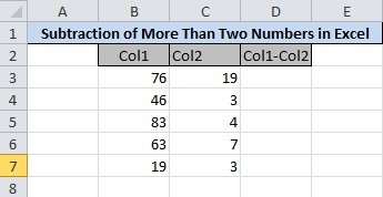 Enter numbers in Two Columns to Subtract