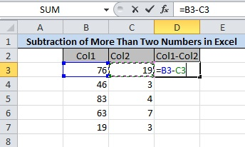 Press 'CTRL' and Select Col1 and Col2 Cells Followed By Minus(-)