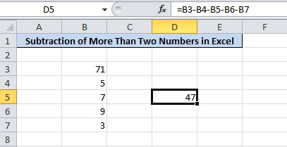 Subtract Numbers in Excel Press 'Enter' For Final Result