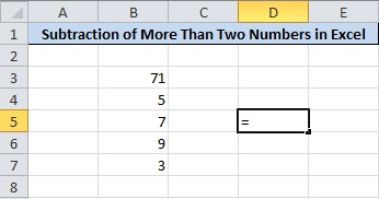 Subtract Numbers in Excel Find the Place to Calculate Subtraction and Put equalsto(=) Operator