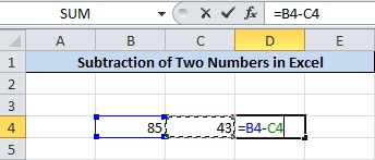 Subtract Numbers in Excel Press 'CTRL' and Select Two Numbers By Clicking on it