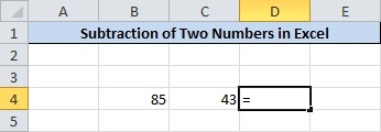 Place equalsto(=) operator Where you have to Calculate Subtraction