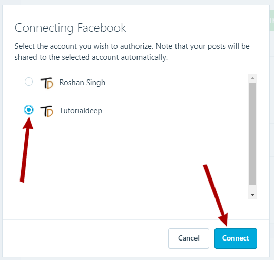 select facebook profile