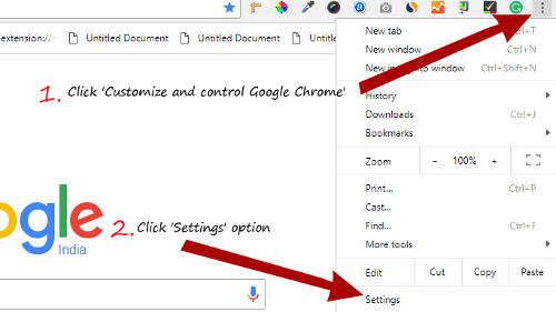Google chrome steps to click setting