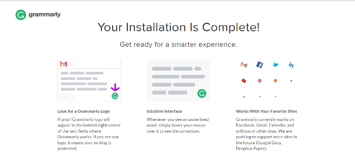 Installation Completed Successfully Page