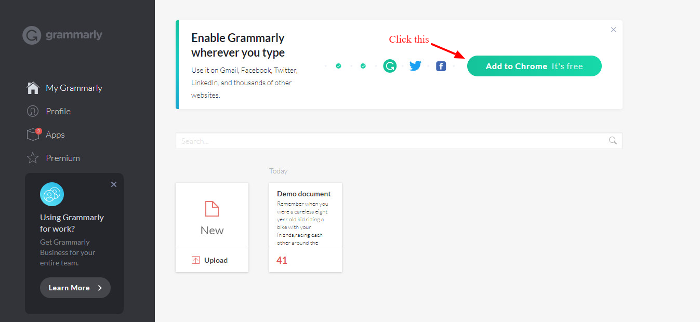 Grammarly App After Signup