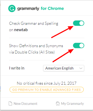 Setup After Installation of Grammarly Chrome Extension