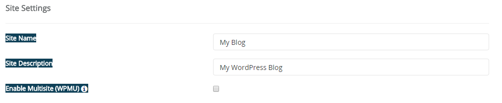install wordpress give site details