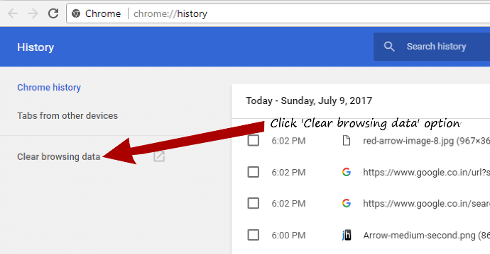 Google chrome click to clear browsing history window