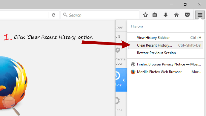 Click recent history in Firefox