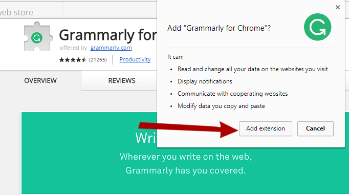 Grammarly english writing chrome extension