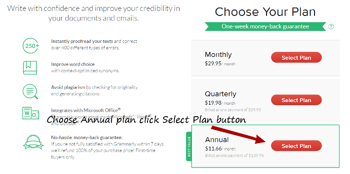 select grammarly plan