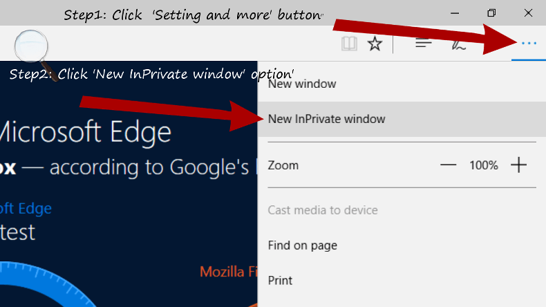 step by step process to open InPrivate Mode