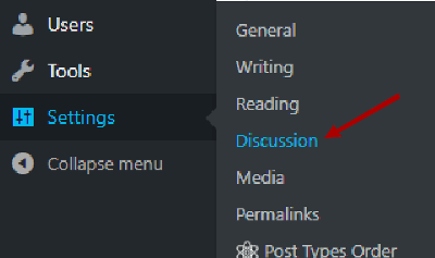 Wordpress Disable comments open discussion settings image