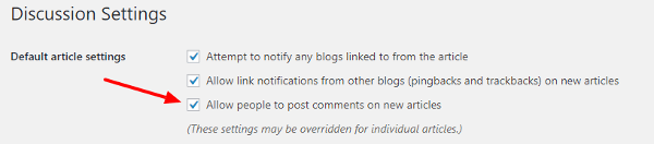 make settings on WordPress discussion setting option to disallow posts for comments image
