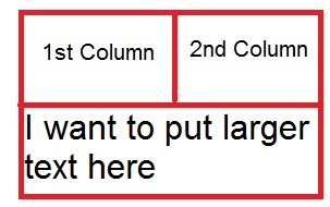 Merging two columns using colspan