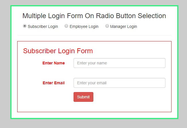 Live Demo on Show/Hide Div On Radio Button Selected Using jQuery