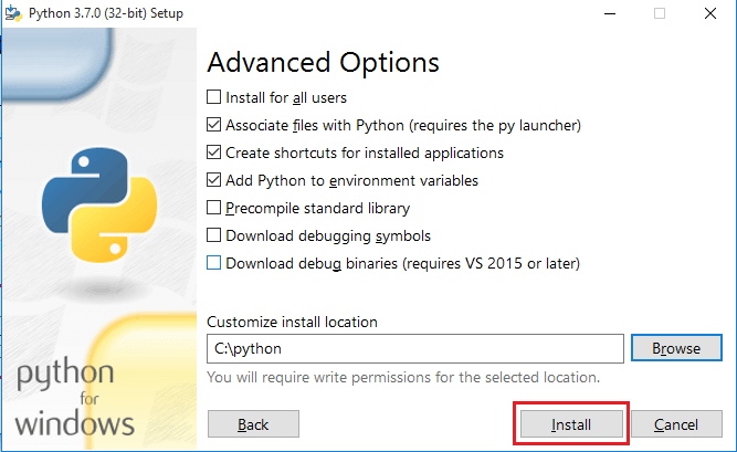 give custom location of installation in customize option to install python on Windows 10 for specified location
