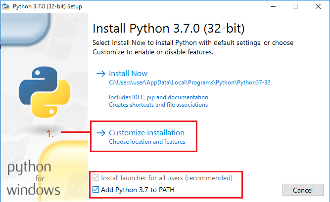 Click customize option of python to install python on custom location on Windows 10 for specified location