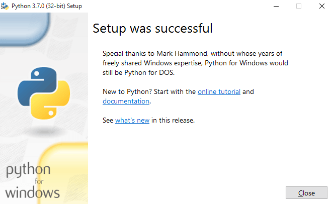 Message after successful installation of python on Windows 10 for automated location
