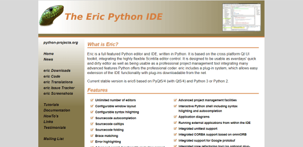 Eric Best IDE Text Editor For Python