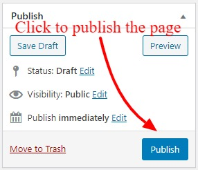 Finally, After completed your page content, publish your page to add on WordPress