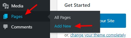 visit add new page to add the pages in WordPress