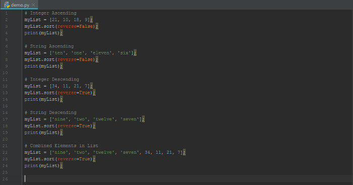 Sorting List in ascending in Python