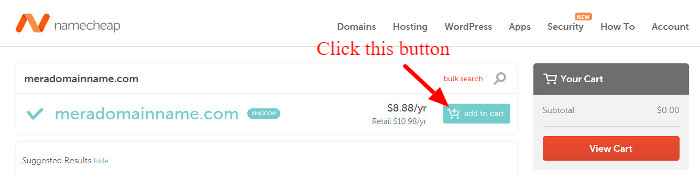 add available domain in the shopping cart