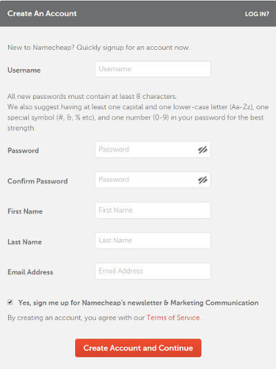 Fill details to signup and create account on NameCheap